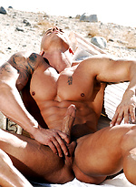 Muscle hunk Brett shows his perfect sculpted body outdoors